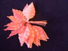 Vintage Millinery Flower 2Dozen Satin Leaf Dark Pink G