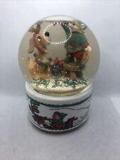 1992 The San Francisco Music Box Company Musical Snow Globe Christmas Elf & Dog