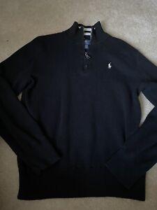 Polo Ralph Lauren Boy's Black Cotton Half-Zip Pullover Sweater Size M 10-12