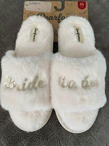 NEW Dearfoams Slippers Women's White Bride To Be Fur S M L XL 6 7 8 9 10 11