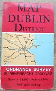 Vintage Dublin District Ordnance Survey map Ireland C 1980s Good B22