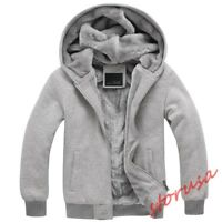 Men's Casual Hooded Sweater Cashmere Coat Thick Fur Lined Winter Warm Jacket Hot