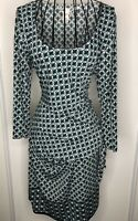 Ladies MAX STUDIO  White Green Art Deco Ruched Dress Extra Large 16 18