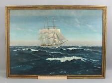 Large Original PAUL DUNBAR American Maritime Clipper Ship Seascape Oil Painting