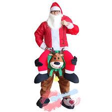 Adult Carry Me Piggy Back Reindeer + Santa Claus Mascot Costume Fancy Dress Xmas