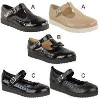 New Womens Ladies Girls Flats Shoes Pumps School Work Office Geek Low Heels Size