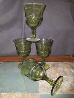 "4 Fostoria ""Argus-Green"" Water Goblets Glasses 6 1/2"" Henry Ford Museum"