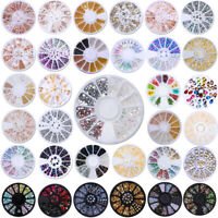 Rose Gold Silver Studs Rivet AB Color Rhinestones 3D Nail Art Decoration Wheel