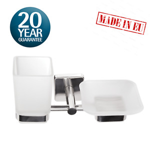 Toothbrush and Soap Dish Holder, Tumbler, Wall Mount Stainless Steel Adhesive