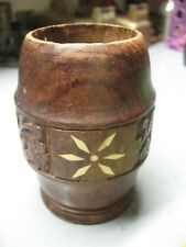 VINTAGE  CARVED  WOOD WITH BONE INLAY  PEN PENCIL CADDIE  ORIG. INDIA