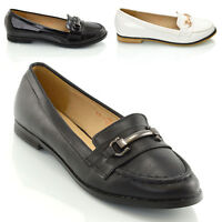 New Ladies Slip On Loafers Buckle Womens Smart Moccasin Patent Shoes Size 3-8