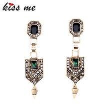 KISS ME Vintage Jewelry Women New Green Crystal Cone Ear Pendants Long Drop Earr