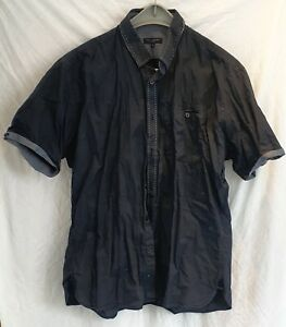 Ted Baker black short sleeved shirt collar/cuff detail tapered fit size 6 Used