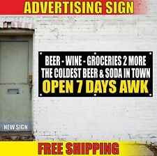 Beer Wine Banner Advertising Vinyl Sign Flag soda cold Groceries open shop store