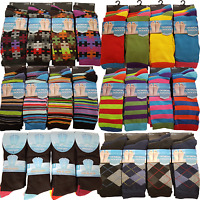MENS 12 PAIRS COLOURFUL PRINTED STRIPE ARGYLE LYCRA OFFICE WORK WEAR SOCKS LOT