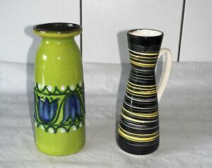 2 Strehla Vasen Keramik DDR Ostalgie Mid Century Vintage Vase 60er 70er Jahre !