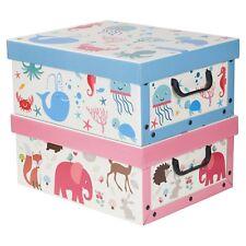 Boîtes de Rangement Set 2 Rose & Bleu Décorative Animal Poisson Récipient Coffre