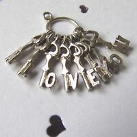 VINTAGE SILVER SMALL BUNCH OF KEYS CHARM SPELLING I LOVE YOU