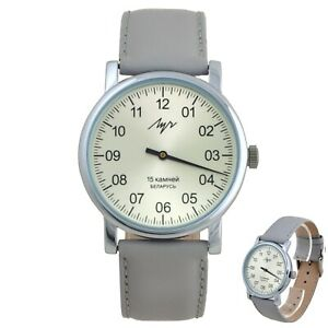 One Hand Luch Mechanical Wristwatch Men's leather Vintage Silver 77471762 RUS