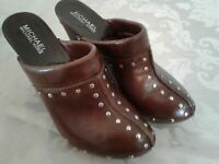 "Michael Kors Brown Womens 6.5 M Leather Studded Clogs Shoes 4"" Mule Wooden Sole"