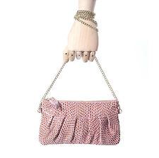 Women's Light Pink Daywear Evening Bag Genuine Leather Clutch Wristlet Crossbody