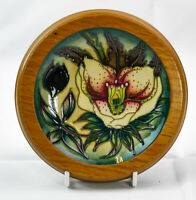 Beautiful Moorcroft Floral Design Framed Green Coaster/Pin Dish Made in England!