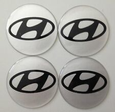 4 Hyundai Aufkleber 66mm Silber Embleme Logo  Nabendeckel 165-Hyundiai SI