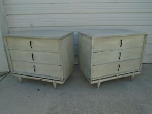 Pair Bachelor Chest of 3 Kent Coffey Sequence Nightstands Dressers 2 Eames era