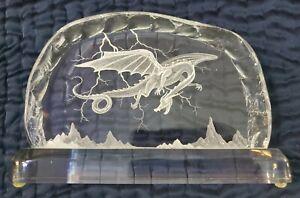 Acrylic Lucite Dragon Plaque Sculpture Signed R Rich
