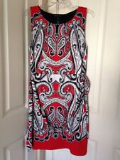 Womens INC Sleeveless Tunisian Paisley Embellished Belted Sheath Dress Sz L