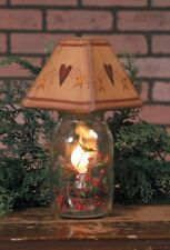 """ELECTRIC CANDLE JAR LIGHT LAMP HEART STARS WOODEN SHADE 5 1/4"""" W x 10 1/4"""""""