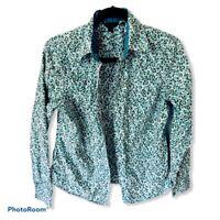 BODEN Long Sleeve Blouse Size 12 Womens Green Button Down Top Floral Shirt
