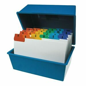 "Office Index Record Card Box Filing & Coloured Guide Record Cards - BLUE 6"" x 4"""