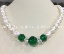 Genuine natural 7-8mm akoya freshwater Rice pearl & 8-10mm green agate necklace