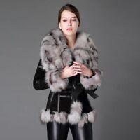 Vera pelliccia volpe vera pelle donna inverno calda 36-46 giacca cappotto