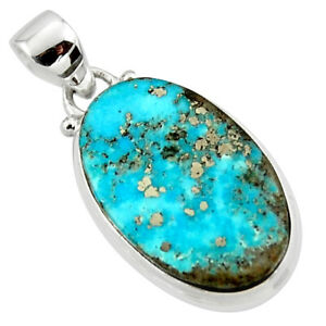 wholesale offer 14.72cts natural persian turquoise pyrite oval pendant r49293