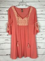 Boutique Entro Coral Boho Cold Shoulder Lace Tunic Blouse Top ~ Women's S Small