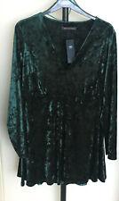 """M&S Size 18 Bottle Green Crushed Velvet Long Sleeved Mini Dress Bnwt 34""""L"""