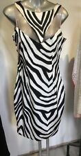 "NWOT""A-LIST"" Beautiful Black/white fitted Dress Sz 10 Mesh top, Zebra Print"