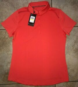 Womens Under Armour Zinger UPF 50+ Short Sleeve Golf Polo Red NWT $60