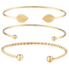 3PCS/Set Cuff Opening Crystal Leaves Bangle Bracelet Women Wristband Jewelry
