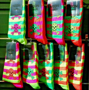 2 Pairs Ladies Girls Bright Neon Ankle Socks 5 Patterns  Size 4-7