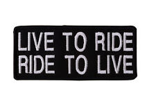 LIVE TO RIDE TO LIVE Embroidered Iron On Motorcycle Biker Vest Jacket Patch P8