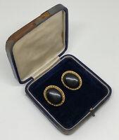 1980s Vintage Clip On Statement Earrings Gold Tone Black Enamel Power Dressing