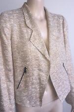 ZARA Woman - As New Beautiful Gold Metallic Tweed Biker Jacket Medium (10)