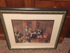 "Disney Cel 101 Dalmatians ""Pongo, Perdita,Pups with Roger and Anita at Piano"""