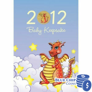 2012 UNC $1 BABY KEEPSAKE YEAR OF THE DRAGON COLOURED COIN IN CARD