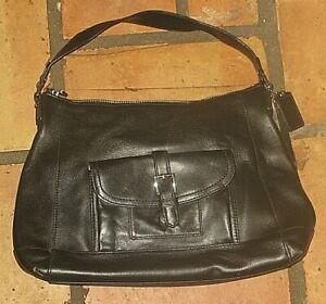 Coach F29881 Charlie Leather Hobo Handbag Saddle Bag Black Purse