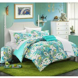 Chic Home 8 Piece Princess Paisley Polka Dot Aqua Twin XL Dorm Room Reversible