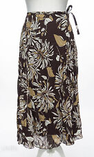 Bon Marche Long Brown Floral Fishtail Floaty Flippy Hem Crinkle Skirt Size 18